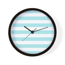 Mint Blue and white horizontal stripes Wall Clock