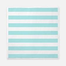 Mint Blue and white horizontal stripes Queen Duvet