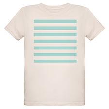 Mint Blue and white horizontal stripes T-Shirt