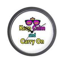 Crown Sunglasses Keep Calm And Carry On Wall Clock