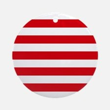 Red and white horizontal stripes Ornament (Round)