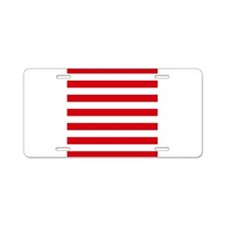 Red and white horizontal stripes Aluminum License