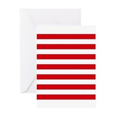 Red and white horizontal stripes Greeting Card