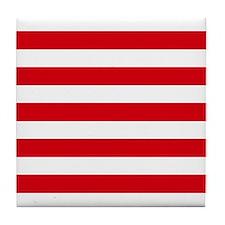 Red and white horizontal stripes Tile Coaster