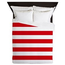 Red and white horizontal stripes Queen Duvet
