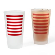 Red and white horizontal stripes Drinking Glass