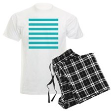 Turquoise and white horizontal stripes pajamas