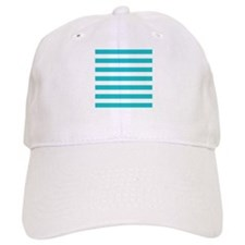 Turquoise and white horizontal stripes Baseball Cap