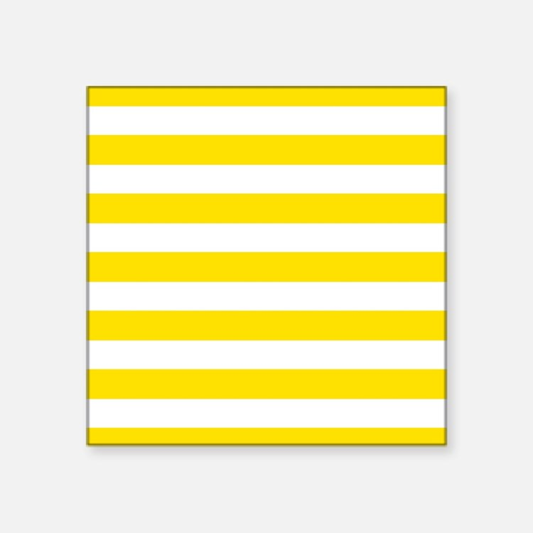 Yellow and white horizontal stripes Sticker