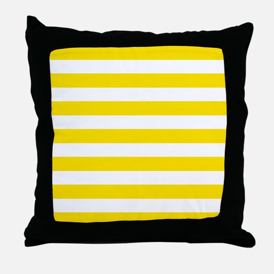 Yellow and white horizontal stripes Throw Pillow