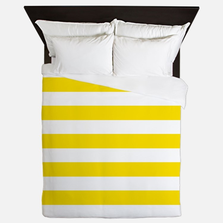 Yellow and white horizontal stripes Queen Duvet
