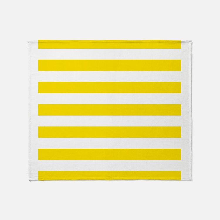 Yellow and white horizontal stripes Throw Blanket