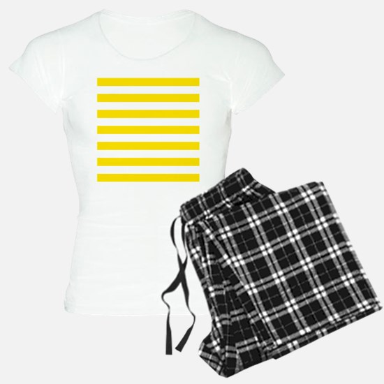 Yellow and white horizontal stripes pajamas