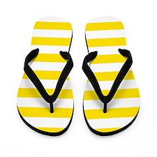 Yellow and white horizontal stripes Flip Flops