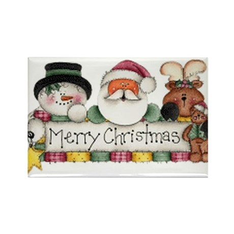 Merry Christmas Trio Rectangle Magnet