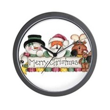 Merry Christmas Trio Wall Clock