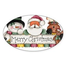 Merry Christmas Trio Oval Decal