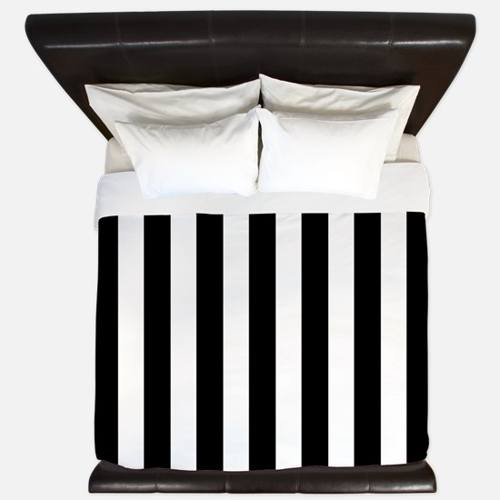 Black and white vertical stripes King Duvet