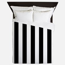 Black and white vertical stripes Queen Duvet