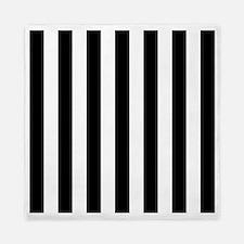 Black and white vertical stripes Queen Duvet