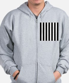 Black and white vertical stripes Zip Hoody