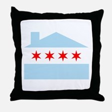 Chicago House Flag Throw Pillow