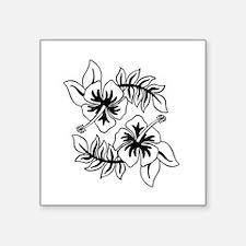 Black Hibiscus Flowers Sticker