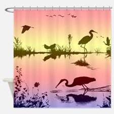 morning on the lake Shower Curtain