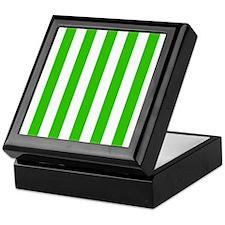 Green and white vertical stripes Keepsake Box