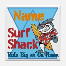 Custom surf shack Tile Coaster