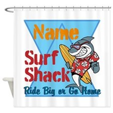 Custom surf shack Shower Curtain