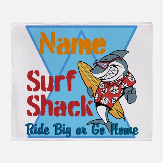 Custom surf shack Throw Blanket