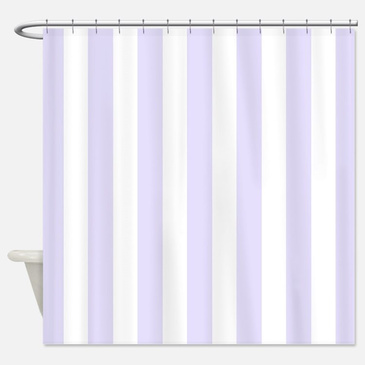 Lilac purple and white vertical stripes Shower Cur