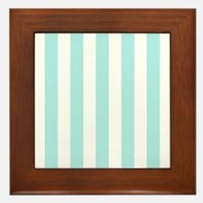 Mint Blue and white vertical stripes Framed Tile