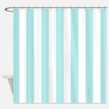 Mint Blue and white vertical stripes Shower Curtai