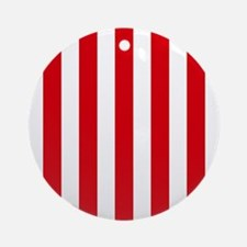 Red and white vertical stripes Ornament (Round)