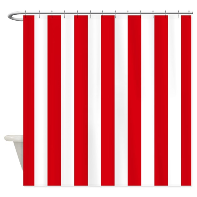 Red And White Vertical Stripes Shower Curtain By Inspirationzstore
