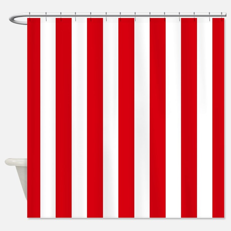 Red And White Stripe Shower Shower Curtains Red And White Stripe Shower Fabric Shower Curtain