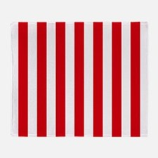 Red and white vertical stripes Throw Blanket