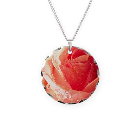 Raindrops On A Peach Tea Rose Necklace