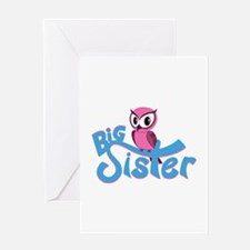 So Girly Owl Big Sister Greeting Card