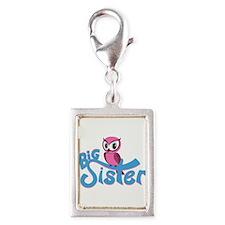 So Girly Owl Big Sister Silver Portrait Charm