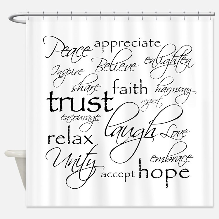Words Shower Curtains Words Fabric Shower Curtain Liner - Shower curtain with words