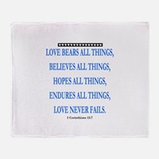LOVE NEVER FAILS Throw Blanket