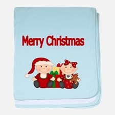 Merry Christmas with Twins baby blanket