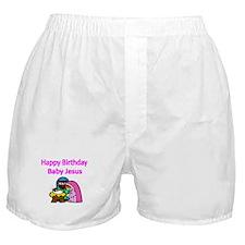 Happy Birthday Baby Jesus-pink Boxer Shorts