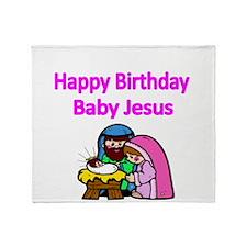 Happy Birthday Baby Jesus-pink Throw Blanket