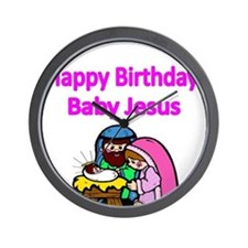 Happy Birthday Baby Jesus-pink Wall Clock