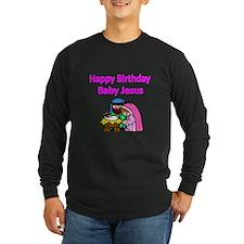 Happy Birthday Baby Jesus-pink Long Sleeve T-Shirt