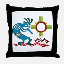 Kokopelli in the Sun Throw Pillow